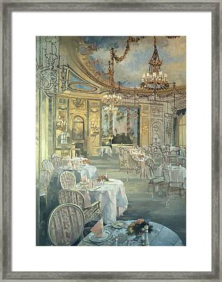 The Ritz Restaurant Oil On Canvas Framed Print