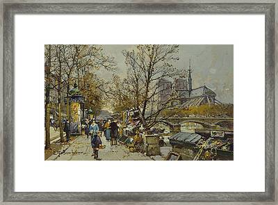 The Rive Gauche Paris With Notre Dame Beyond Framed Print by Eugene Galien-Laloue