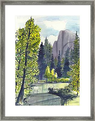 Framed Print featuring the painting The River At Yosemite by Terry Banderas