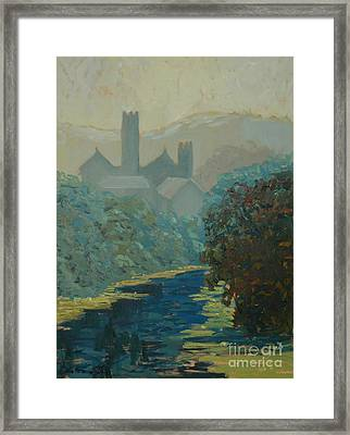 The River By The Castle Framed Print by Monica Caballero