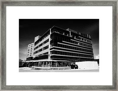 the river center office building downtown Saskatoon Saskatchewan Canada Framed Print by Joe Fox