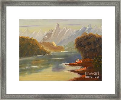 The River Flowing From A High Mountain Framed Print