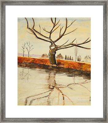 The River In Winter - Painting Framed Print by Veronica Rickard