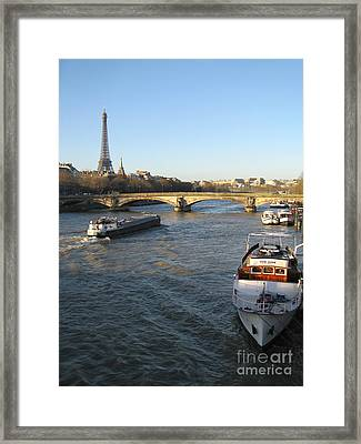 The River Seine In Paris Framed Print by Kiril Stanchev