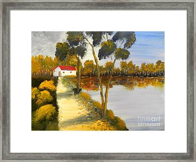 Framed Print featuring the painting The Riverhouse by Pamela  Meredith
