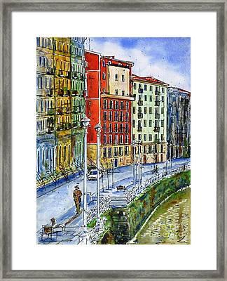 The Riverside Houses At Bilbao La Vieja Framed Print by Zaira Dzhaubaeva