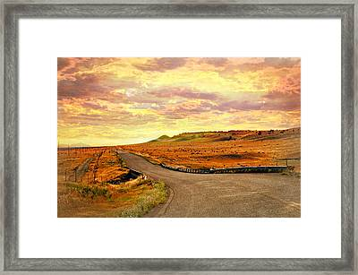 Framed Print featuring the photograph The Road Less Trraveled Sunset by Marty Koch