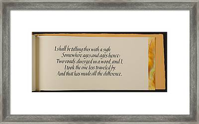 The Road Not Taken Framed Print by Lorraine Douglas