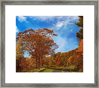 The Road To Autumn Framed Print by Kim Hojnacki