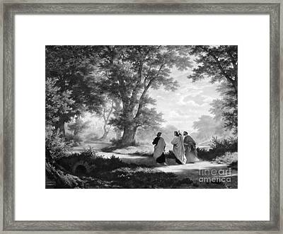 The Road To Emmaus Monochrome Framed Print by Tina M Wenger