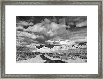 The Road To Turtlehead Peak Las Vegas Strip Nevada Red Rock Canyon Mojave Desert Framed Print by Silvio Ligutti