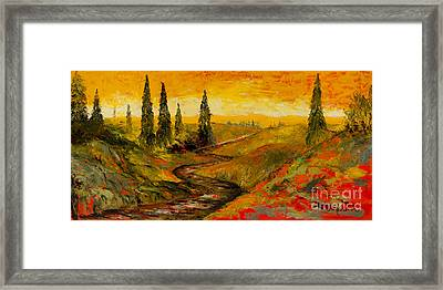 The Road To Tuscany Framed Print by Larry Martin
