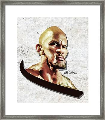 The Rock Caricature By Gbs Framed Print