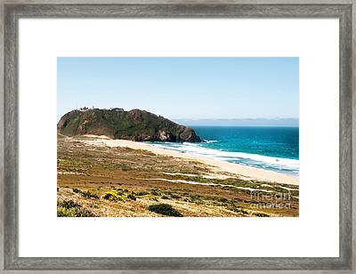 The Rock Of Piedras Blancas Lighthouse In San Simeon Ca Framed Print by Artist and Photographer Laura Wrede