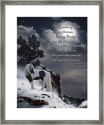 The Rock With Verse Framed Print