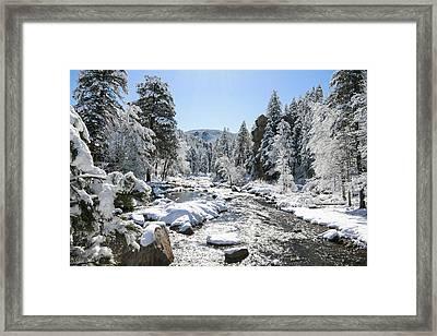 The Rockies In Winter Framed Print by Jill Bell
