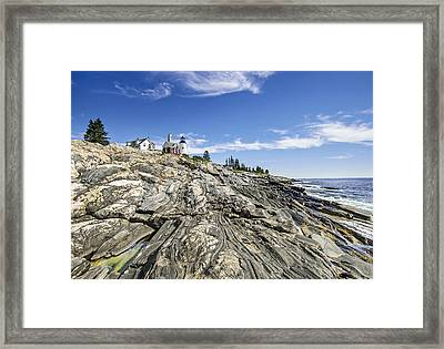 The Rocks At Pemaquid Point Maine Framed Print