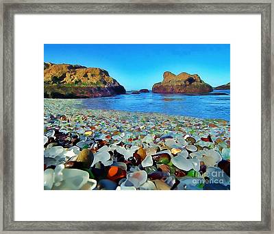Glass Beach In Cali Framed Print