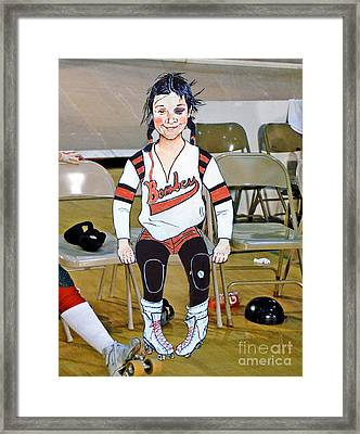 The Roller Derby Girl With A Black Eye Framed Print by Jim Fitzpatrick