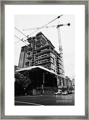 the rolston new condo project granville street Vancouver BC Canada Framed Print by Joe Fox