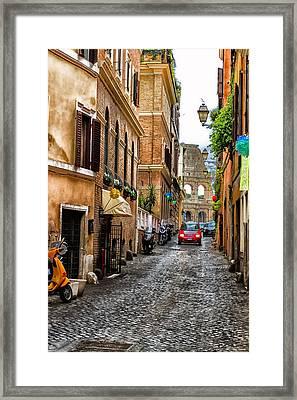 The Roman Colosseum Street View - Colosseum Framed Print