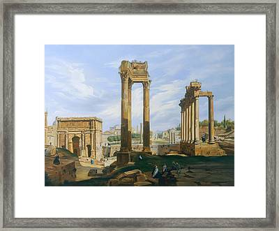 The Roman Forum Framed Print by Jodocus-Sebastiaen van den Abeele