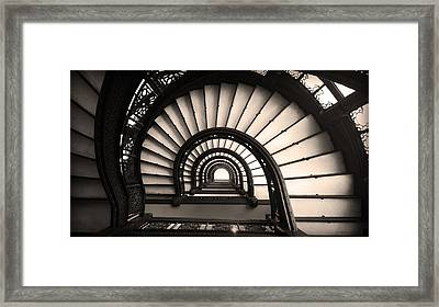 The Rookery Staircase In Sepia Tone Framed Print