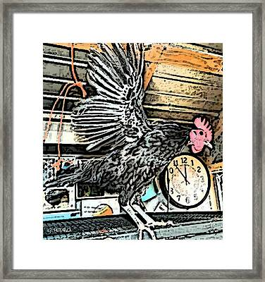Framed Print featuring the painting The Rooster That Overslept by George Pedro