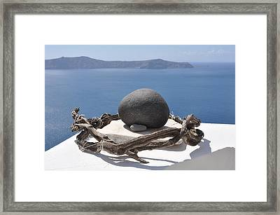 The Root Of Santorini Framed Print by Kathy Schumann
