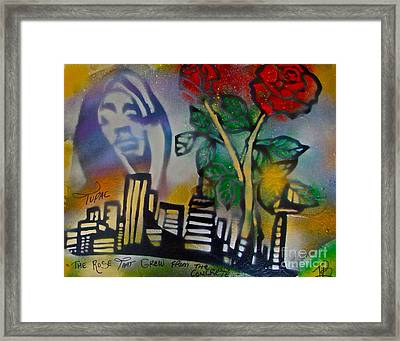 The Rose From The Concrete Gold Framed Print by Tony B Conscious