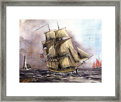 The Us Tall Shiprose Off The Fastnet Framed Print by Val Byrne