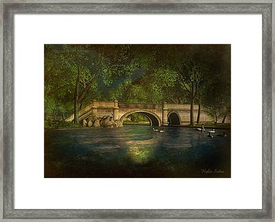 The Rose Pond Bridge 06301302 - By Kylie Sabra Framed Print by Kylie Sabra