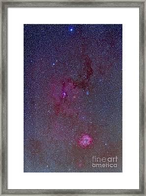 The Rosette Nebula With Nebulosity Framed Print by Alan Dyer