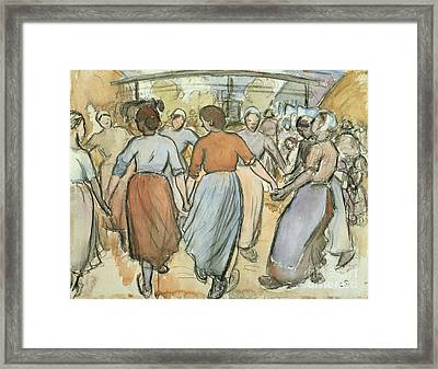 The Round Framed Print by Camille Pissarro