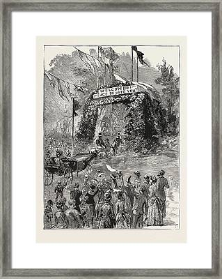 The Royal Couple Passing Under The Triumphal Arch Framed Print by English School