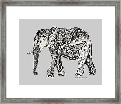 The Royal Elephant Zentangled Framed Print