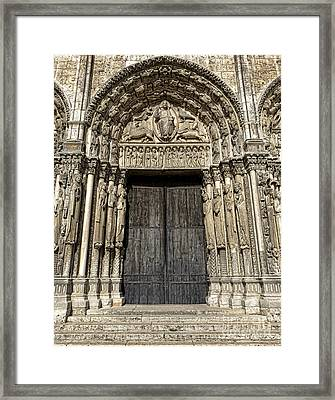 The Royal Portal At Chartres Framed Print by Olivier Le Queinec