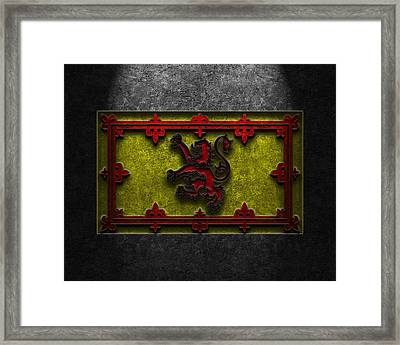 Framed Print featuring the digital art The Royal Standard Of Scotland Stone Texture by Brian Carson