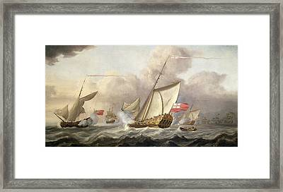 The Royal Yacht Mary Exchanging Salutes, 18th Century Framed Print by Cornelis van de Velde