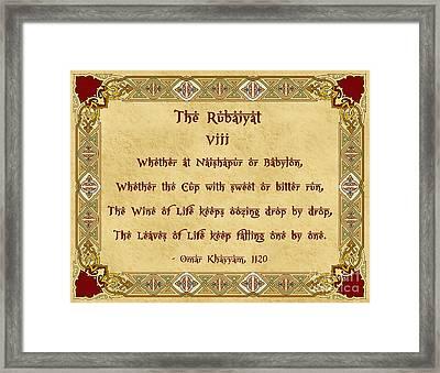 The Rubaiyat Viii Omar Khayyam  Framed Print