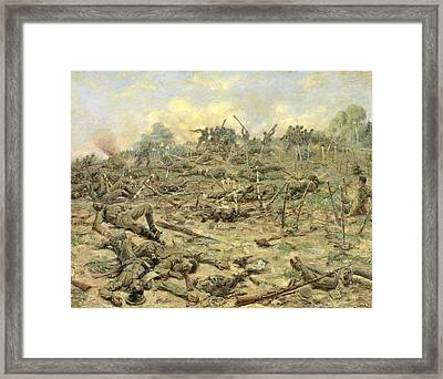 The Russian Infantry Attacking The German Entrenchments Framed Print by Pyotr Pavlovich Karyagin