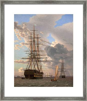 The Russian Ship Of The Line Assow And A Frigate At Anchor In The Roads Of Elsinore Framed Print by Christoffer Wilhelm Eckersberg
