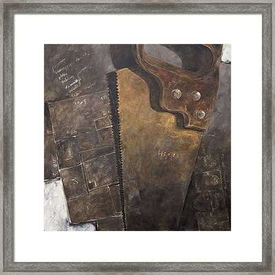 The Rusty Saw And The Buildingplans Framed Print by Anke Classen