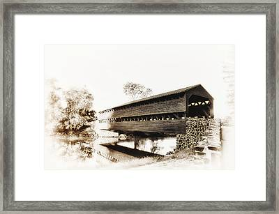 The Sachs Covered Bridge Near Gettysburg In Sepia Framed Print by Bill Cannon