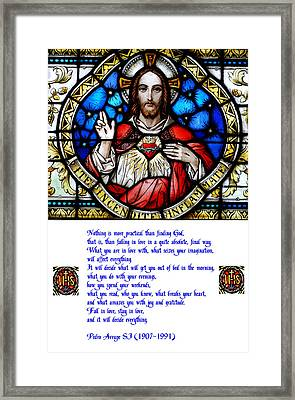 The Sacred Heart And The Arrupe Prayer Framed Print by Philip Ralley