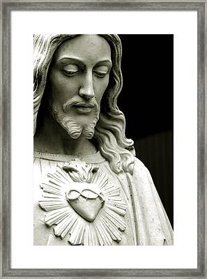 The Sacred Heart Of Jesus, 19th Century Framed Print by South American School
