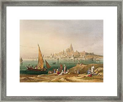 The Sacred Town And Temples Of Dwarka Framed Print by Captain Robert M. Grindlay