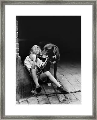 The Sad Boy Circa 1921 Framed Print by Aged Pixel