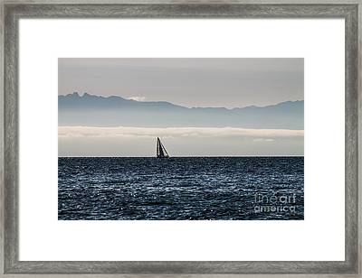 The Sail Boat Horizon Framed Print by Arlene Sundby