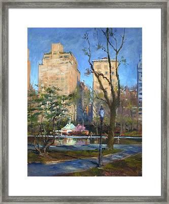 The Sailboat Pond In Central Park Framed Print